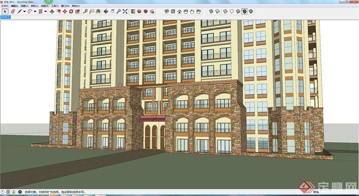 某地欧式风格住宅建筑设计方案su模型 (1)