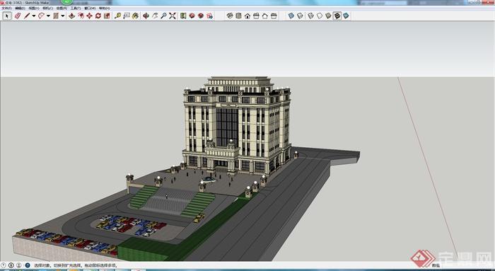 某现代欧式多层商业建筑su模型参考