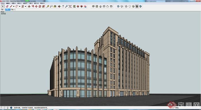 某现代商业高层建筑su模型参考