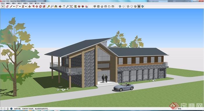 某现代中式风格住宅建筑设计方案su模型2