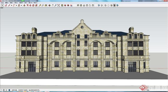 某欧式风格住宅建筑su模型素材