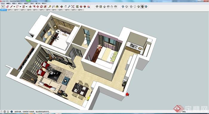 室内装饰设计su模型,装饰布局简洁清晰,风格明显为现代风格,模型制作