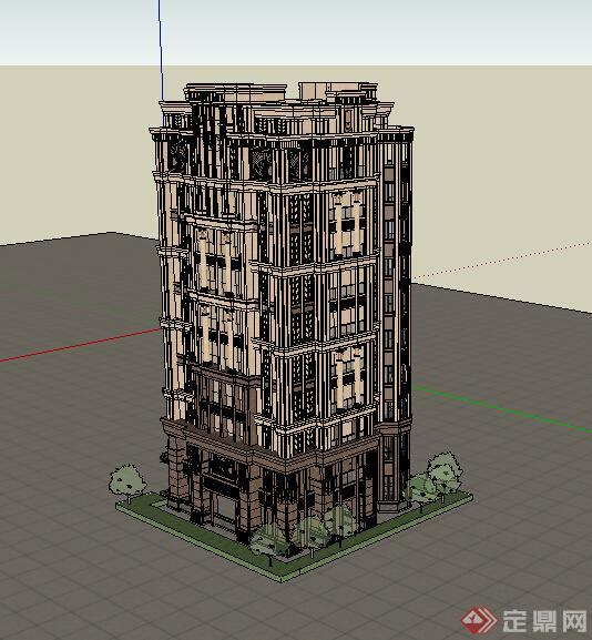 某欧式风格住宅建筑设计su模型