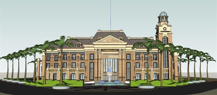 某法式风格会所建筑设计su模型素材[原创]