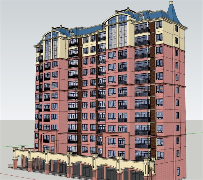某英式住宅楼建筑设计su模型,建筑造型设计独特,风格明显为英式风格图片