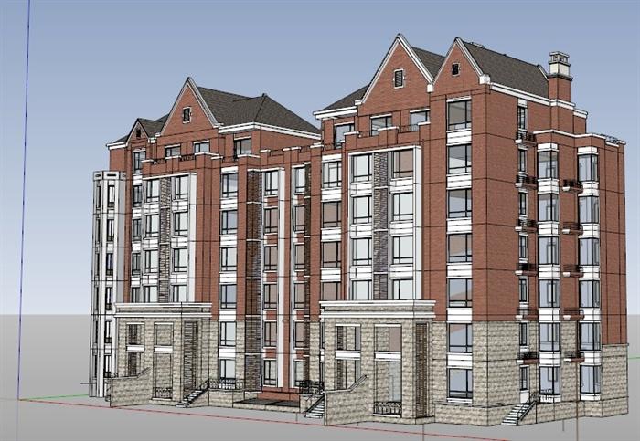 某英式风格多层住宅建筑su模型图片