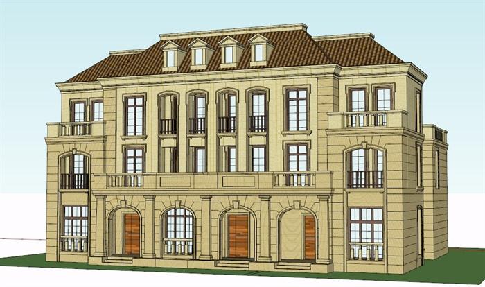某欧式三联别墅建筑设计su模型[原创]