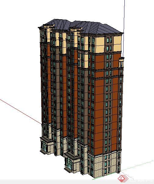 某居住区现代风格高层住宅建筑设计su模型 2