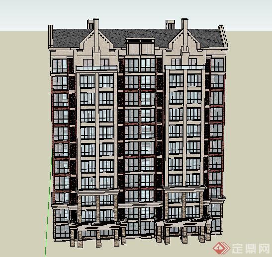 某欧式风格高层住宅建筑设计方案su模型[原创]