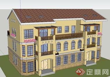 某美式小别墅建筑设计su模型素材