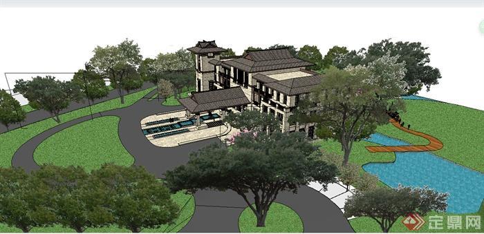 某东南亚风格会所建筑及景观设计SU精细模型
