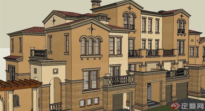 某欧式联排住宅楼建筑设计su模型