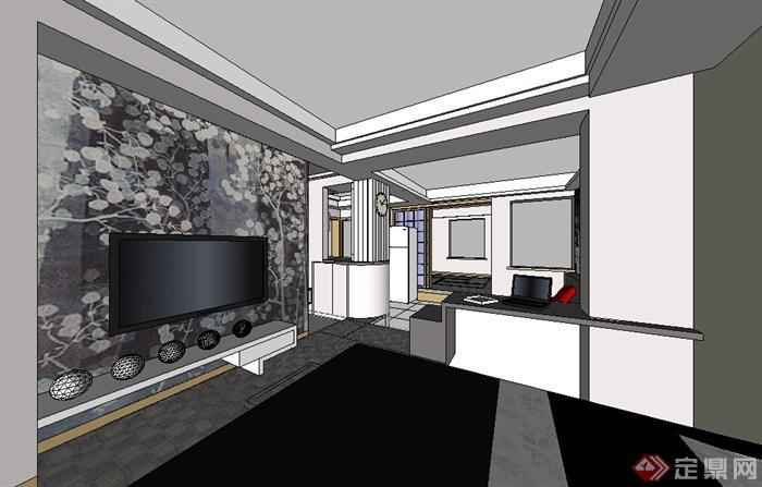 某住宅室内装饰方案设计su模型素材[原创]