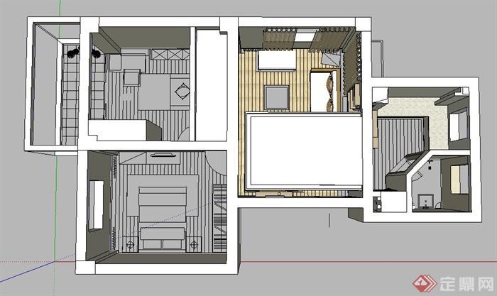 某住宅空间平面布置SU模型图片