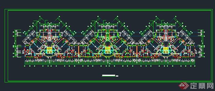 某小区高层户型住宅楼建筑方案cad平面图