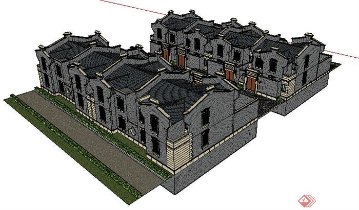 某一现代中式风格住宅建筑设计su模型