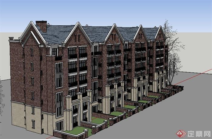 某地一欧式风格住宅建筑设计su模型