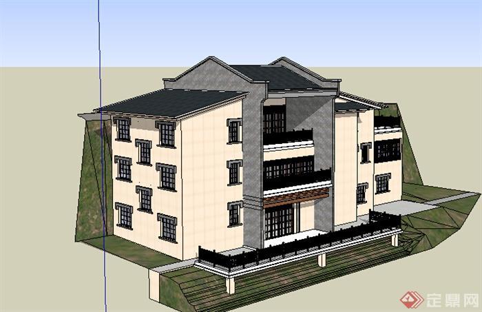某现代中式风格居民楼建筑设计su模型