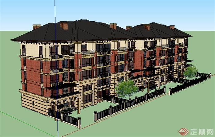 某居住区欧式风格住宅建筑设计su模型