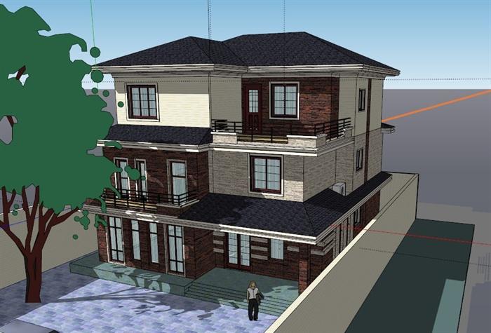 某现代三层小别墅建筑设计SU模型素材图片