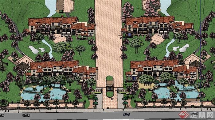 某高端地中海风格别墅区建筑设计SU模型图片