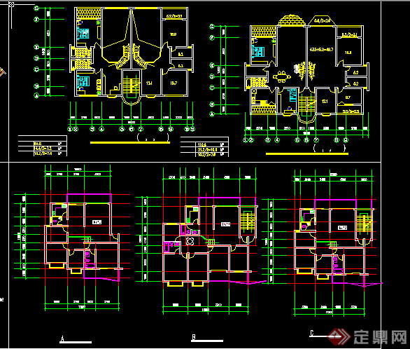 某多层一梯两户住宅平面户型图CAD图纸