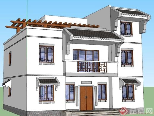某现代中式自建房居住楼设计su模型素材(2)
