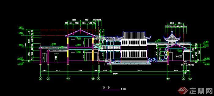 南方某地两层徽派建筑别墅方案设计图(cad)