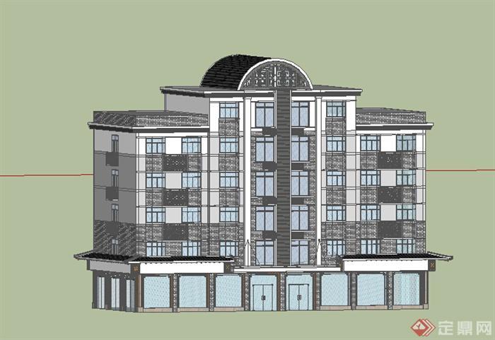 某地现代风格多层住宅楼建筑设计方案su模型(2)