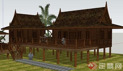 某东南亚小型别墅设计模型SU参考