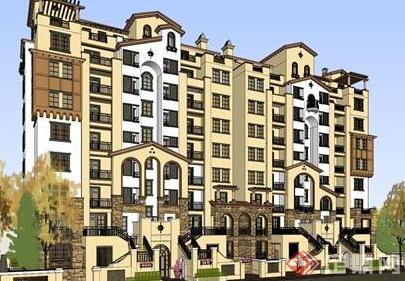 某欧式现代居住楼房设计su模型参考
