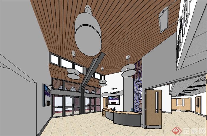 某现代室内办公空间设计su模型素材