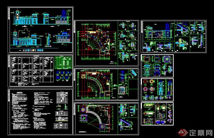 某欧式风格多层商业建筑设计施工图(dwg格式)图片