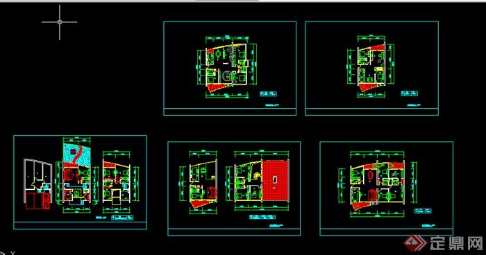 四房二厅三卫 户型图设计CAD图纸
