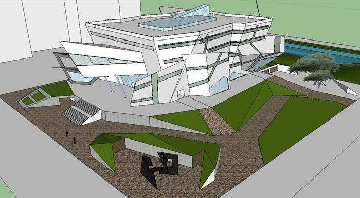 结构解构主义科技馆展览馆建筑设计su模型[原创]