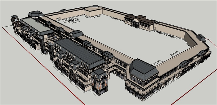 某欧式沿街商业建筑设计方案su模型 1
