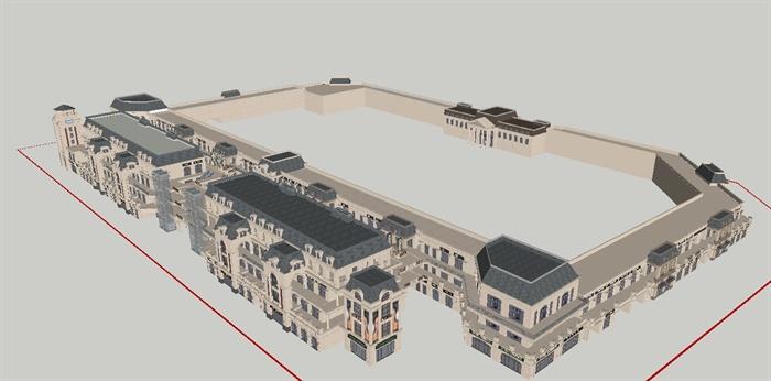 某欧式沿街商业建筑设计方案su模型 4