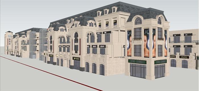 某欧式沿街商业建筑设计方案su模型 6