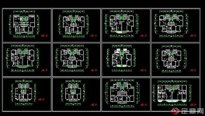 12种一梯两户户型平面图(3)