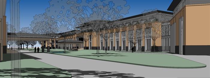 某欧式办公区办公楼SU模型,模型设计整体美观大方,细节处理较好,材质处理得当,模型制作完整细致,色彩搭配简洁,设计内容也比较丰富,具有一定参考价值。