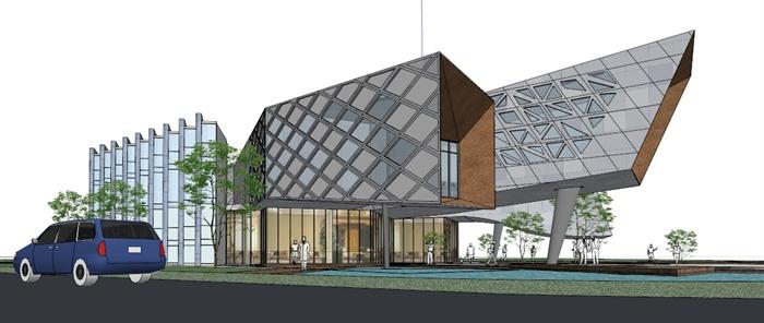 某现代办公楼建筑su模型[原创]