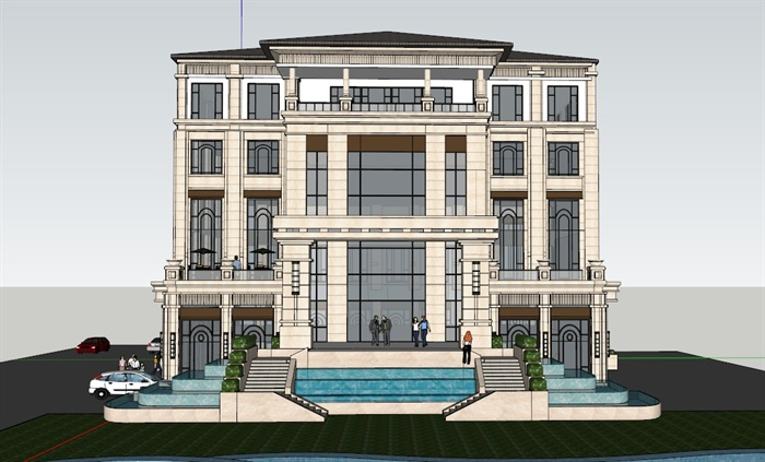 某欧式办公楼建筑设计su模型[原创]