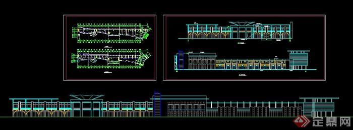 某步行街建筑设计方案图,内容包含了商业街建筑立面图,其中一座建筑