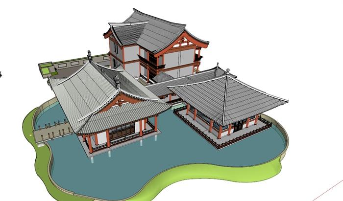 三栋宋代建筑设计su模型