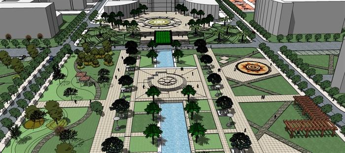 某校园中轴线景观设计方案su模型图片