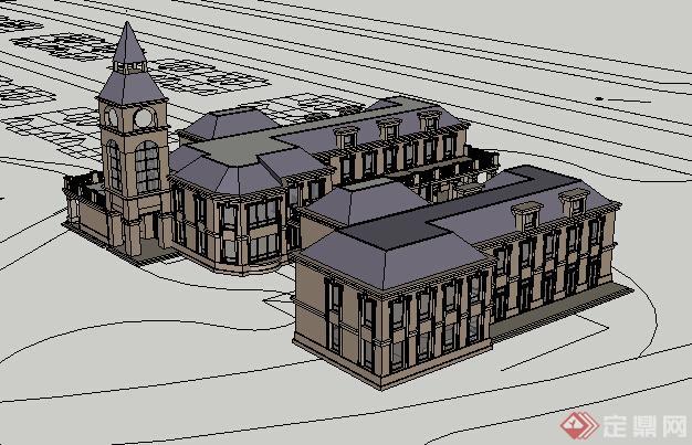 某欧式会所建筑设计方案su模型4[原创]