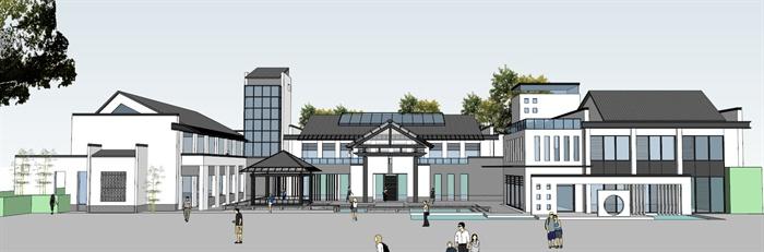 某新中式会所建筑设计方案su模型2,该模型设计精美细致,细节处理较好