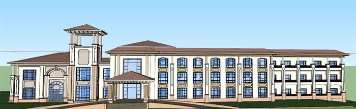 某三层简欧风格酒店建筑设计方案su模型,该模型设计精美细致,细节处理较好,材质处理得当,风格是欧陆式风格,是比较好的酒店建筑设计方案。