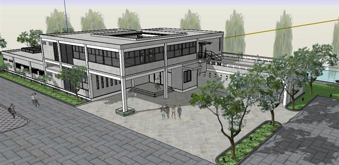 某滨水饭堂建筑设计su模型
