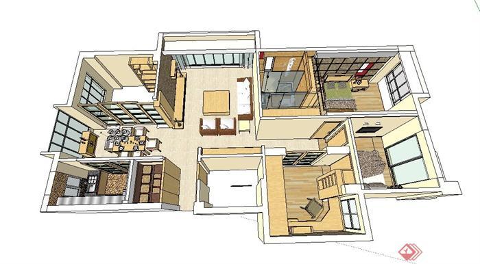 某三房两厅住宅室内装饰设计su模型